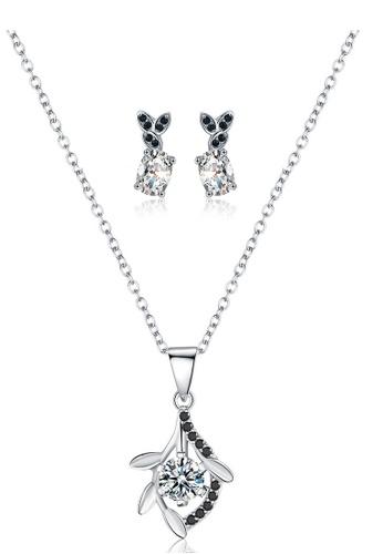 A-Excellence white Premium Elegant White Sliver Necklace Earring Set F0C6EACBA16B93GS_1