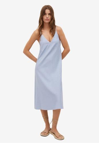 Mango 藍色 棉 洋裝 47C26AA9C675EEGS_1