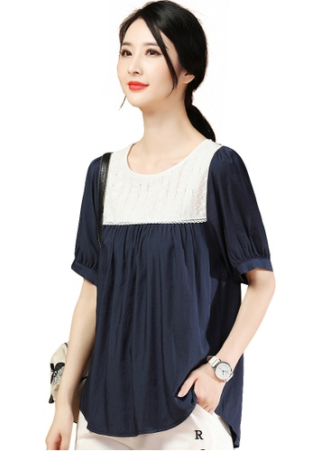 A-IN GIRLS white and navy Loose Puff Sleeve Stitching Top 2A53BAAD068C55GS_1