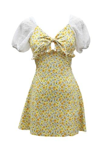 ZITIQUE yellow Women's Elegant Puff Sleeve Floral Print One-piece Swimsuit - Yellow 59F7AUSA4CCAEBGS_1
