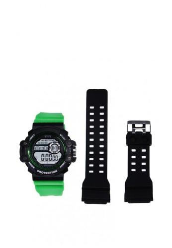 Greatvalueplus black and green Dureau Neon Green Digital Watch with Extra Strap A2CC0AC60B480FGS_1