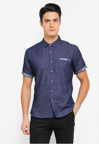 JAXON navy Contrast Fabric Short Sleeve Shirt B6DC5AA92C62B9GS_1
