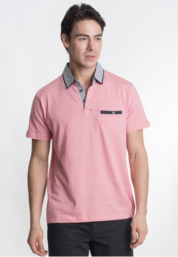 Août red and pink Août - Cotton Slim Essential Polo Shirt 9FDE1AAC75DF94GS_1