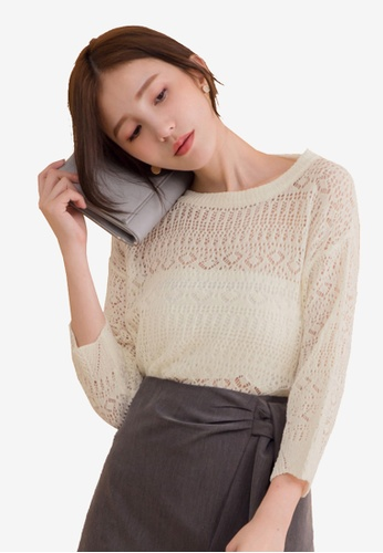 Kodz white O-Neck Long Sleeve Mesh Crop Knitted Top 02873AAE9701F2GS_1