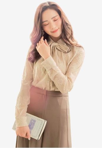 YOCO beige Lace Bow Shirt 270A4AA9104293GS_1