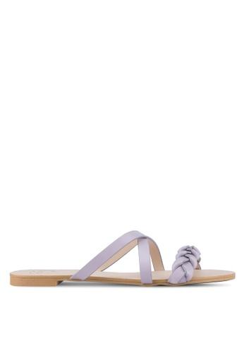 Velvet purple Braided Flat Sandals 0E8B9SHA4CF998GS_1