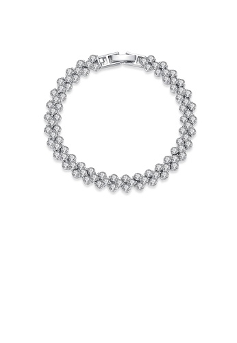 Glamorousky 白色 簡約璀璨幾何鋯石手鏈 A1F1AAC38BBC5CGS_1