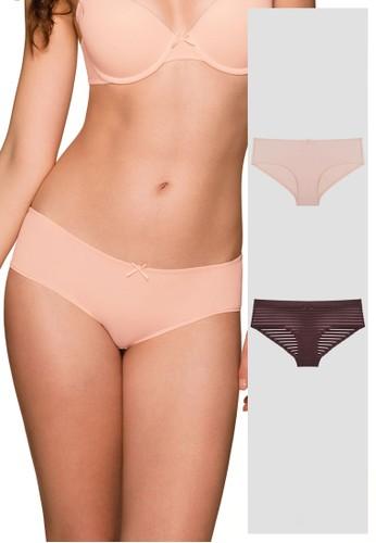 Dorina pink and brown Louise Hipster Panties 2 Piece Pack DO523US0SASSMY_1