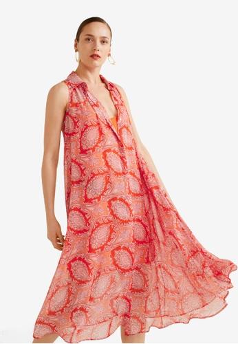 Mango orange Flowy Paisley Dress B21E2AA81C8E1EGS_1