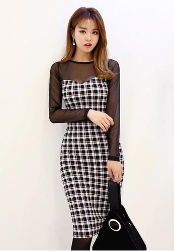 透視格子圖案連衣裙, esprit taiwan服飾, 洋裝