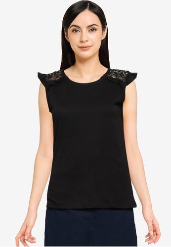 Springfield black Crochet Shoulders T-Shirt 8BF34AA992D372GS_1