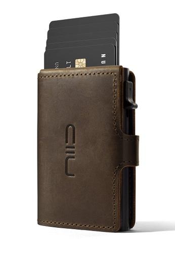 NIID brown NIID RFID Security Slide Mini Leather Wallet Dark Brown 1F640AC3F51DB8GS_1