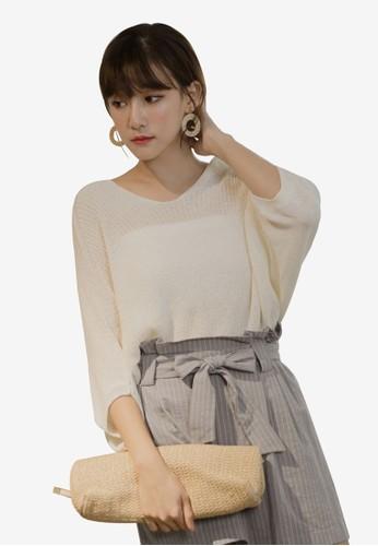 Tokichoi white Knitted V-Neck Top 08E9DAA96ED207GS_1