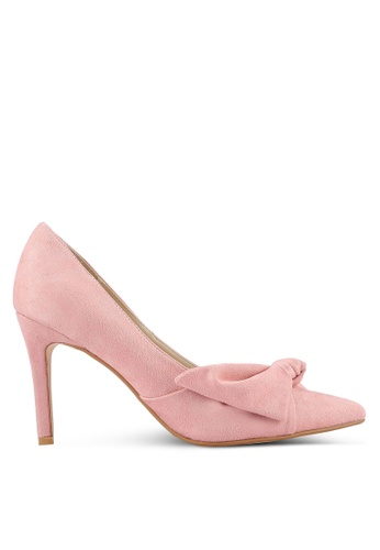 Velvet pink Suede Bow Pump Heels 2C3ECSH58EE0FBGS_1