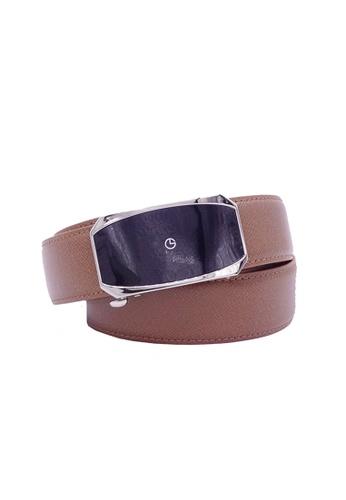 Goldlion brown Goldlion Men Leather Auto-Lock Buckle Belt - Tan 405DBAC41C31B0GS_1