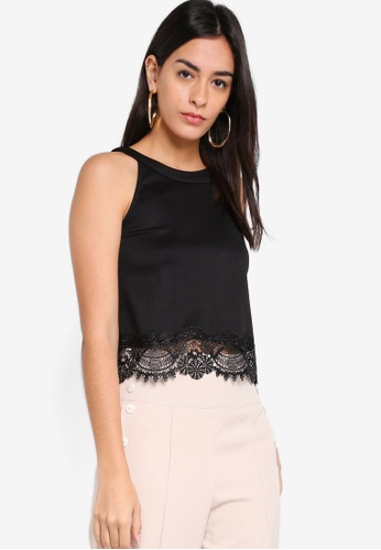 c64321cac95618 ZALORA black Cut In Lace Sleeveless Top AB11CAA5720048GS 1
