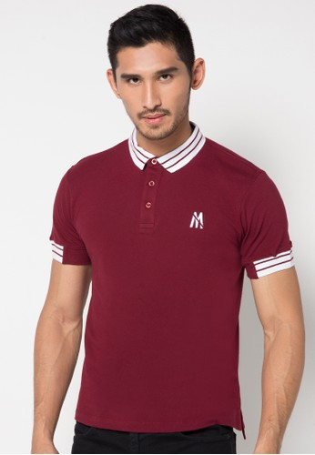 Maroon Contrast 02 S/S Polo