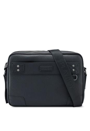 Playboy black Genuine Leather Sling Bag C1829ACD890AD0GS_1