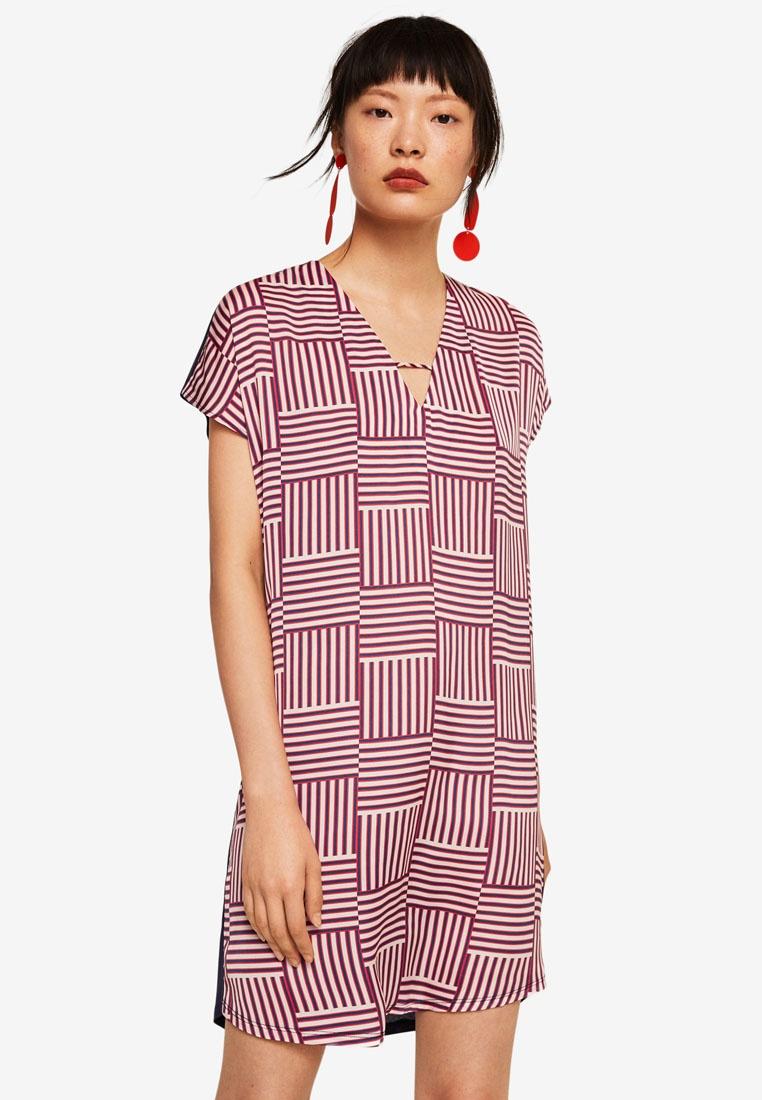 Dress Beige Mango Light Contrasting Design 5w4OvOqP