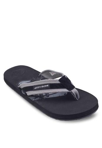 壓紋雙色夾腳拖鞋, esprit分店地址鞋, 鞋
