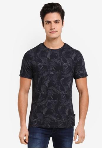 Burton Menswear London blue Navy All Over Leaf Print T-Shirt 9B57BAA0AE19D6GS_1