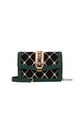 Lara green Women's Embroidery Flap Sling Bag 92613AC3D5052CGS_1