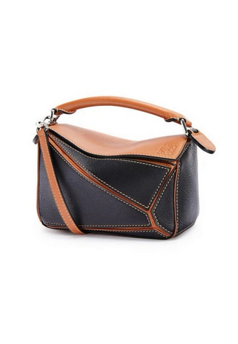 LOEWE black Loewe Mini Puzzle Crossbody Bag in Black/Tan DFDF7AC43B8931GS_1