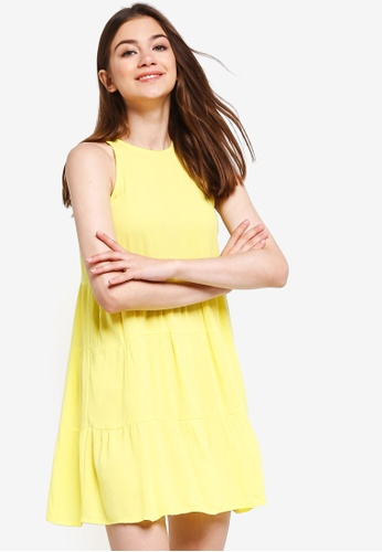 Something Borrowed yellow Tiered Sleeveless Babydoll Dress 59A28AA69EC86EGS_1