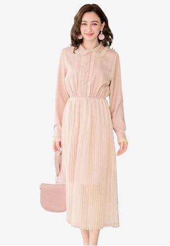 Yoco pink Frill Collar Maxi Dress DA951AA51BCA5FGS_1
