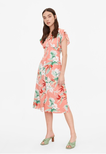 Pomelo pink Bold Floral Butterfly Sleeve Dress - Pink 5217AAAF8BBAA6GS_1