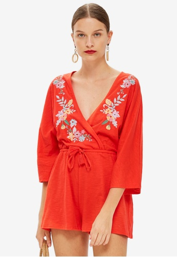 TOPSHOP red Embroidered Jersey Playsuit DBD5BAA25C0B10GS_1