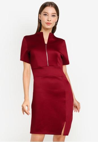 ZALORA WORK red Zip Front Mock Neck Pencil Dress CB2AEAA887FE07GS_1