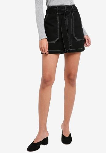 TOPSHOP black Petite Belted Denim Skirt 3D809AAFCE7BE1GS_1