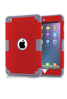 Shockproof Dual Layer Rugged Armor Case for iPad mini 4 - Red/Grey
