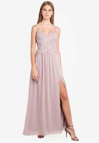 Little Mistress pink Mink Crochet Maxi Dress 02871AA3BD921DGS_1