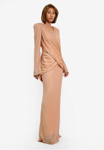 AfiqM beige Metallic Pleated Long Sleeve Set AF546AA0S2MEMY_1