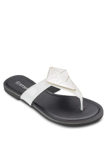 閃飾夾腳平底涼鞋esprit hong kong, 女鞋, 鞋