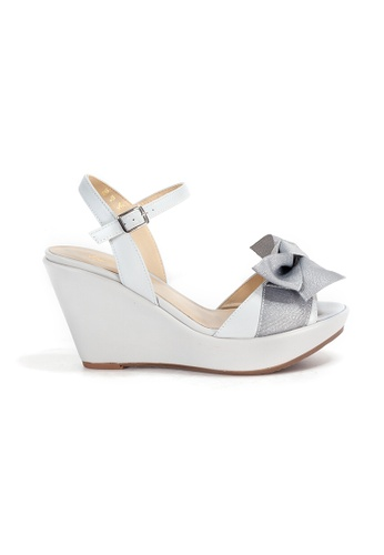 Shu Talk grey Ribbon Bow Wedge Sandal Heels with Ankle Straps 42446SH0686A08GS_1