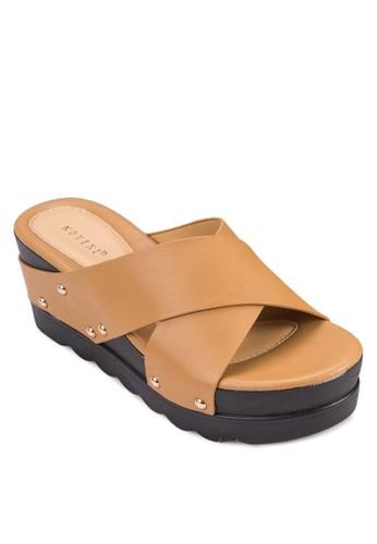 交叉寬帶鉚釘楔形鞋,zalora開箱 女鞋, 楔形涼鞋
