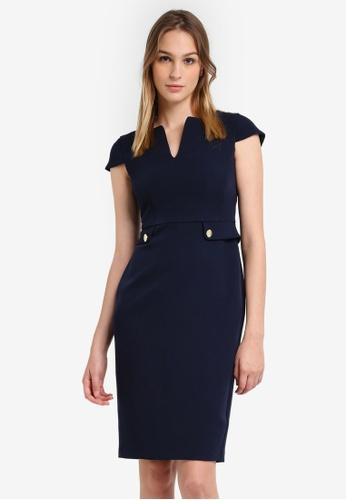 Dorothy Perkins navy Navy Button Pocket Peplum Dress DO816AA0S09KMY_1