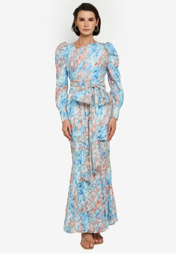 Zalia blue Printed Textured Sash Kurung EECA7AA9ABDCA9GS_1