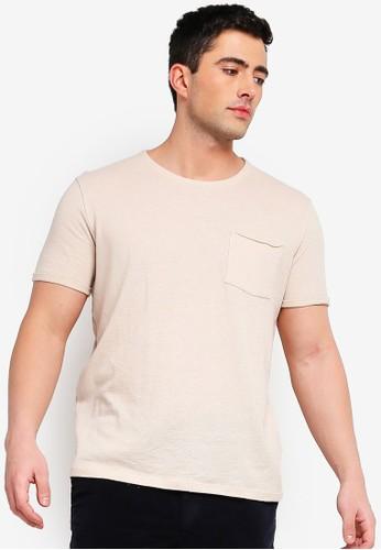 Selected Homme beige Duke Basic Pocket Tee 2E3E0AAC110741GS_1
