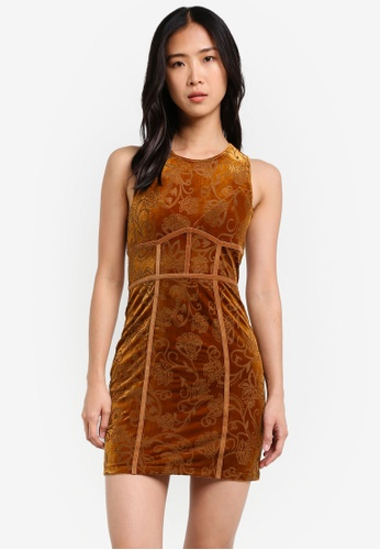 Free People brown Burnout Babe Bodycon FR659AA0S3N7MY_1