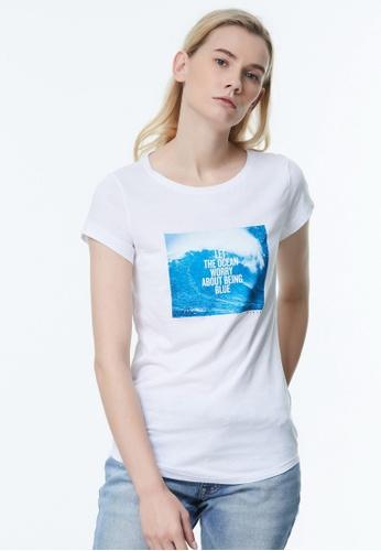 Sisley white Printed T-shirt. 90A1BAAD4DCF19GS_1