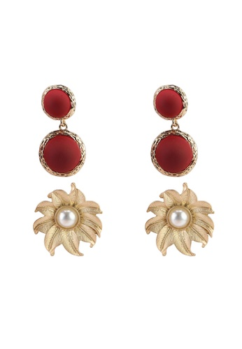 Red's Revenge red 2-in-1 floral baubles earrings set 2671DAC5139EC5GS_1