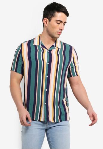 0def7962c114 Topman multi Pastel Multi Stripe Revere Collar Button Through Shirt  1E6A8AA14257ECGS 1