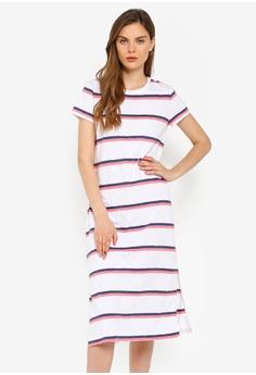2fec485b62998 GAP white and multi Petite Short Sleeve Midi Tee Dress D93ABAA2D4A864GS_1