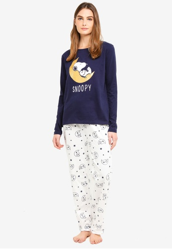 OVS blue and navy Dark Blue Pyjama With Snoopy Print A029BAA7117BC1GS_1
