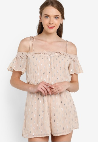 Miss Selfridge beige Nude Dobby Lurex Cold Shoulder Playsuit MI665AA30HNDMY_1