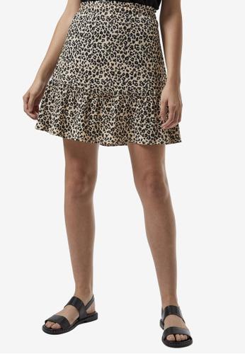 Dorothy Perkins beige Cream Animal Print Crepe Mini Skirt 7C482AAD735D85GS_1